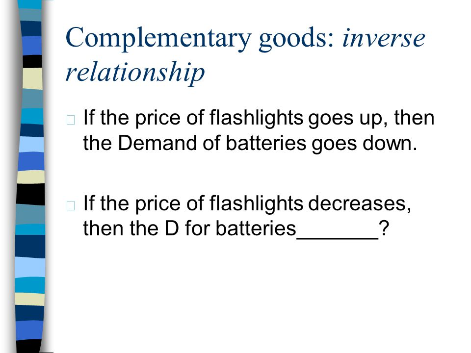 Complementary goods: inverse relationship