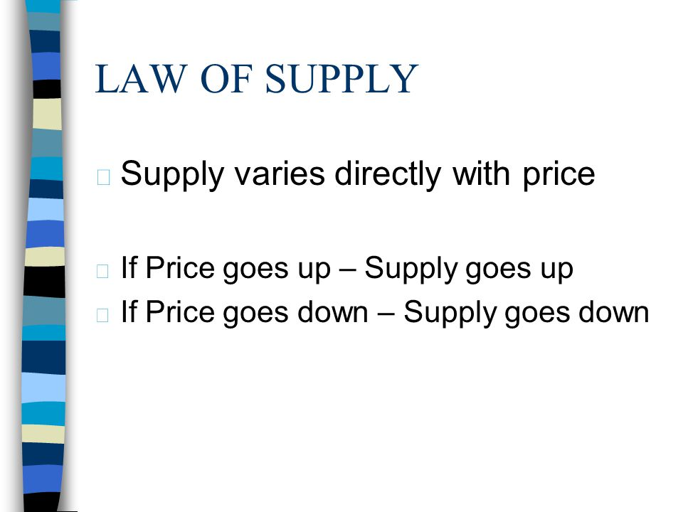 LAW OF SUPPLY Supply varies directly with price