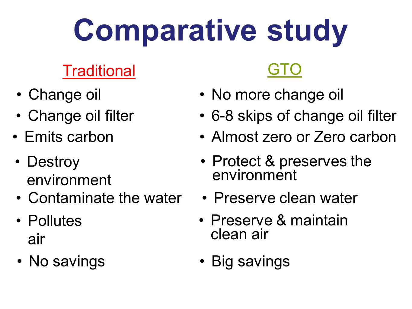 Comparative study GTO Traditional Change oil No more change oil