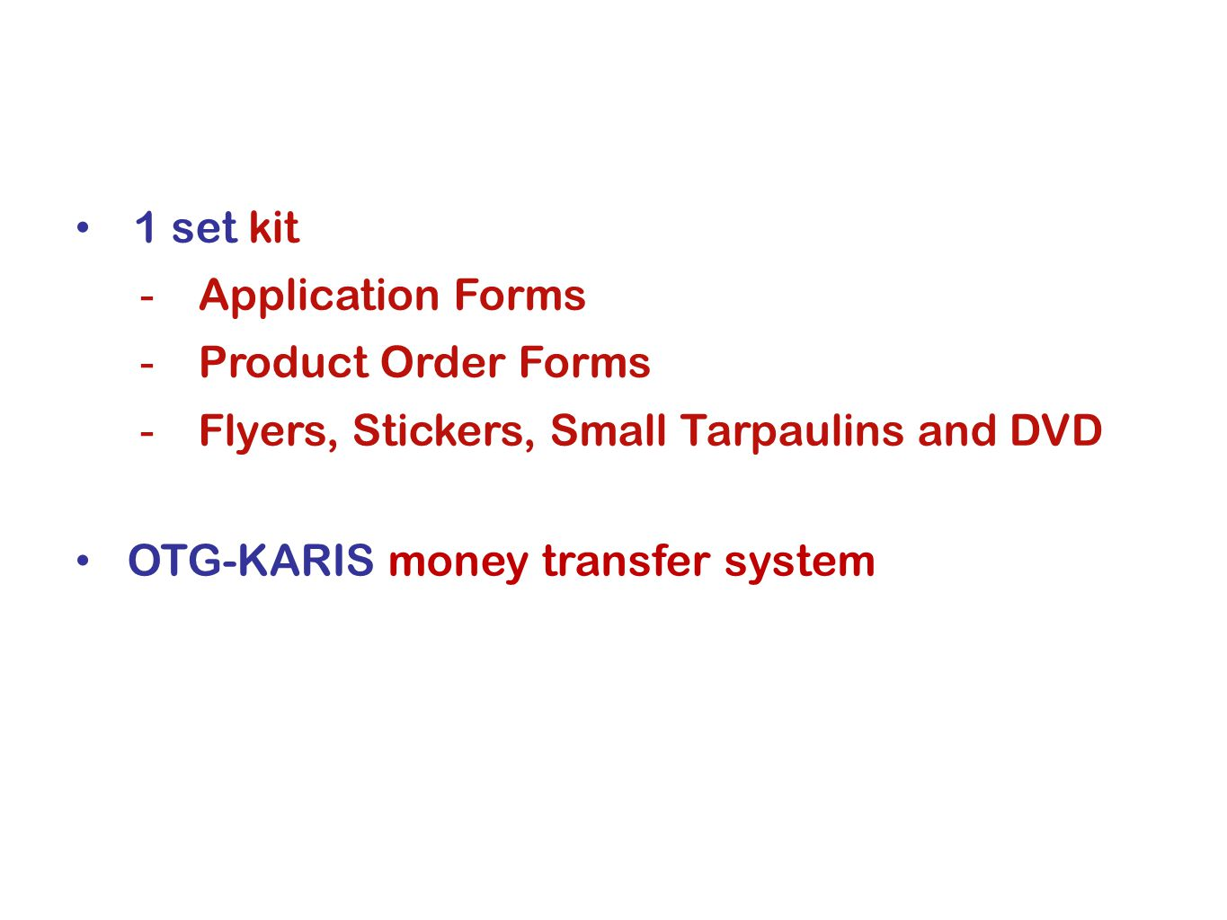 1 set kit Application Forms. Product Order Forms.
