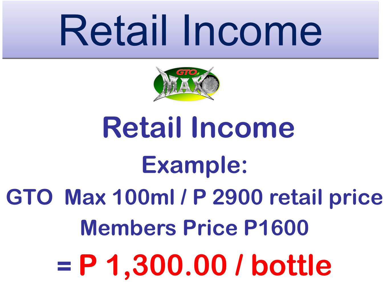 GTO Max 100ml / P 2900 retail price