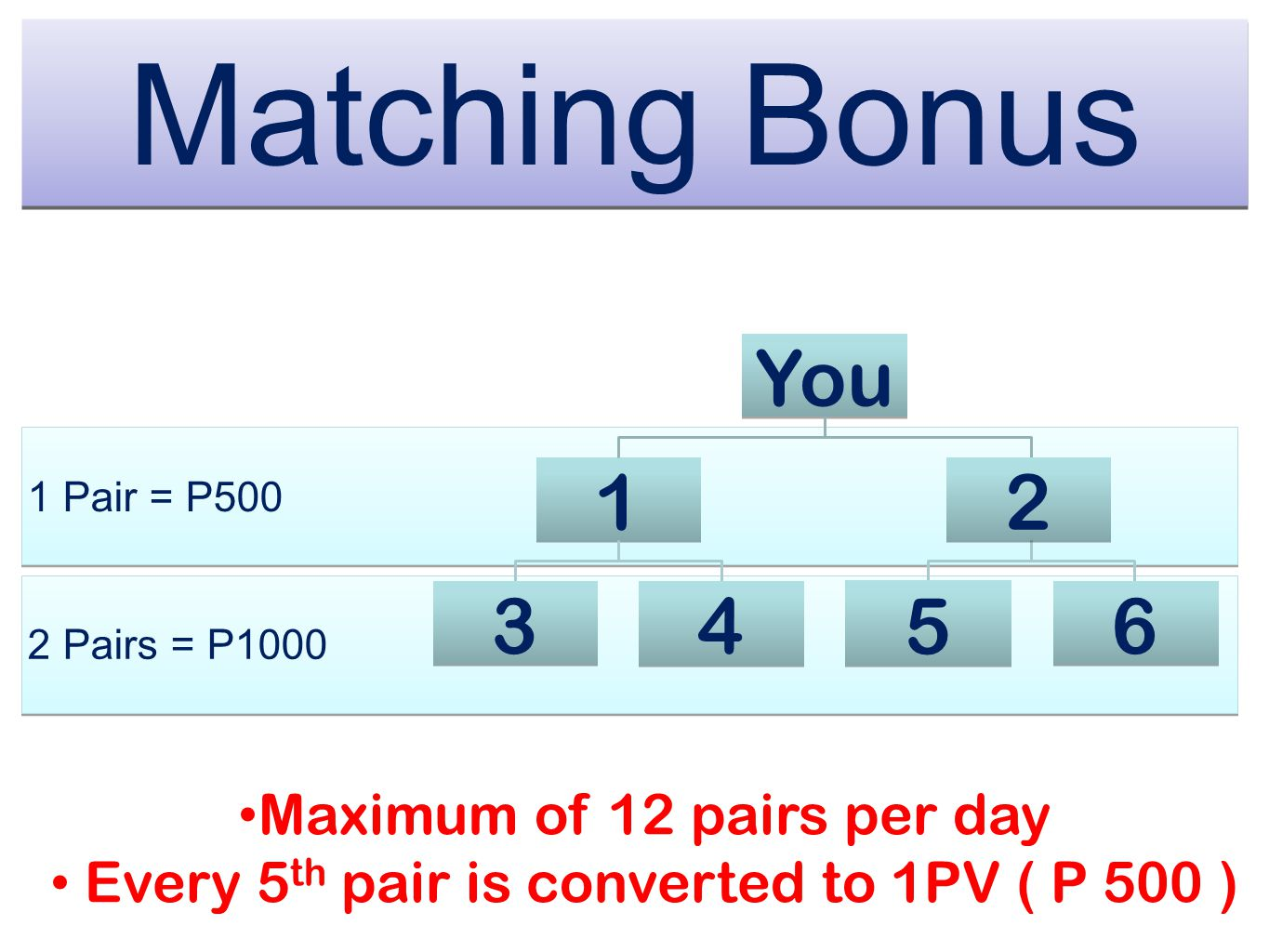 Matching Bonus ` You 1 2 3 4 5 6 Maximum of 12 pairs per day