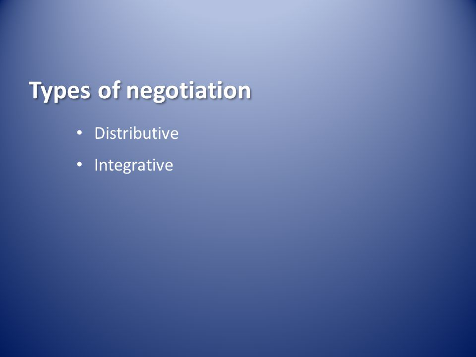 Types of negotiation Distributive Integrative