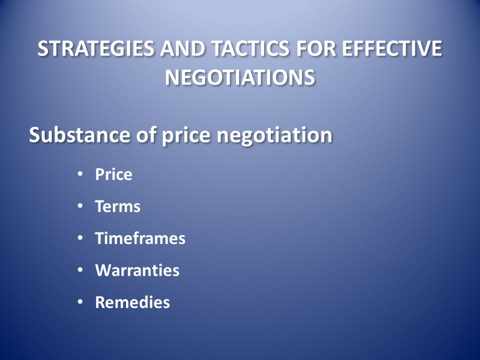 Substance of price negotiation
