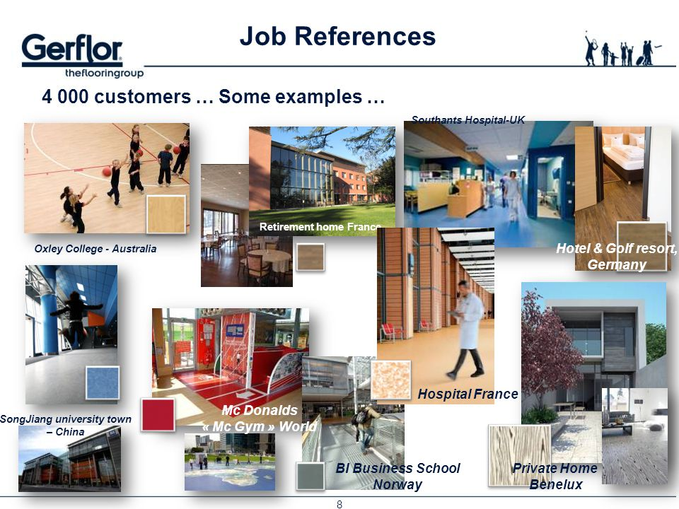 Job References 4 000 customers … Some examples … Hotel & Golf resort,