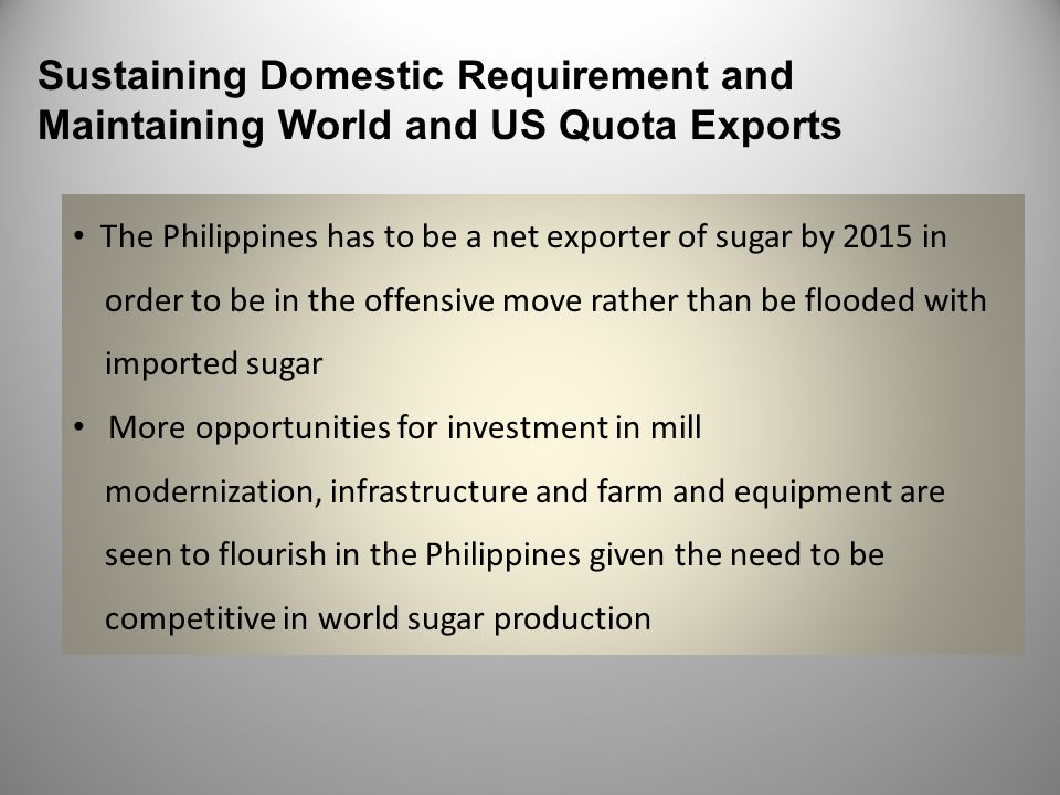 Sustaining Domestic Requirement and Maintaining World and US Quota Exports