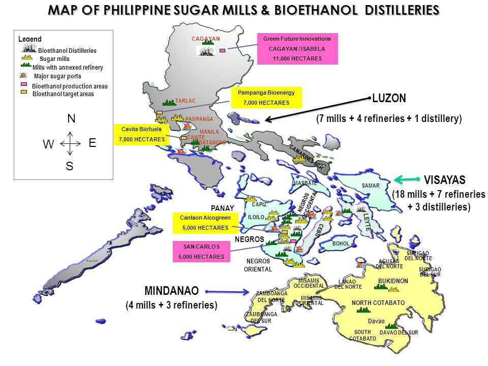 MAP OF PHILIPPINE SUGAR MILLS & BIOETHANOL DISTILLERIES