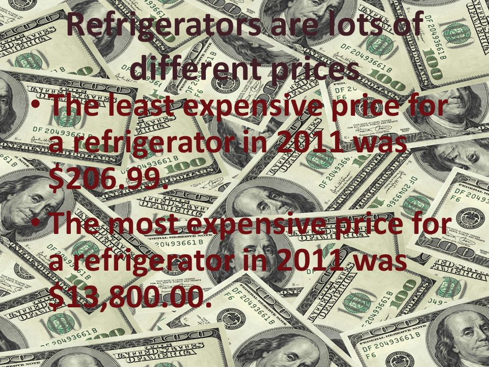 Refrigerators are lots of different prices