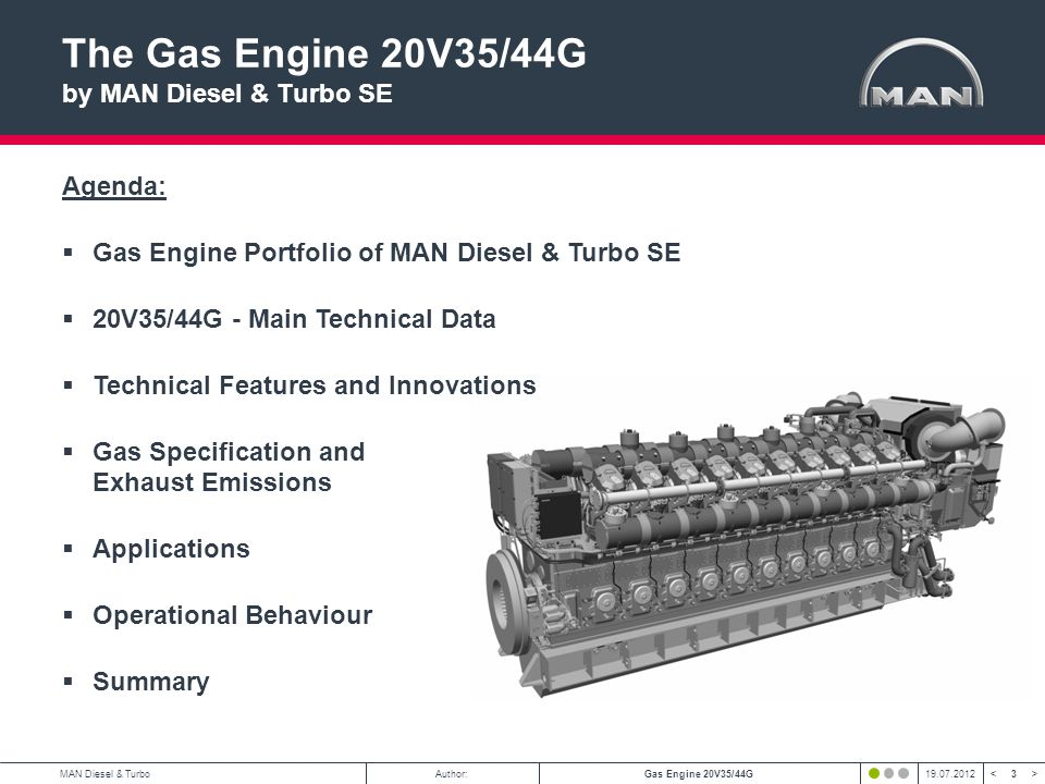 The Gas Engine 20V35/44G by MAN Diesel & Turbo SE Agenda: