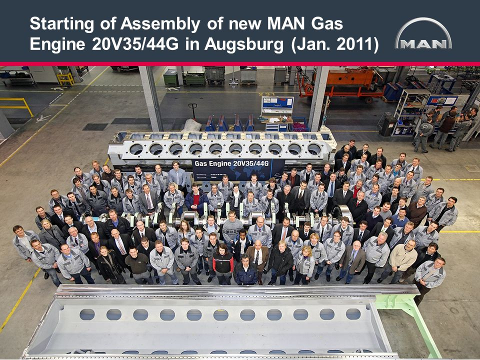 Starting of Assembly of new MAN Gas Engine 20V35/44G in Augsburg (Jan