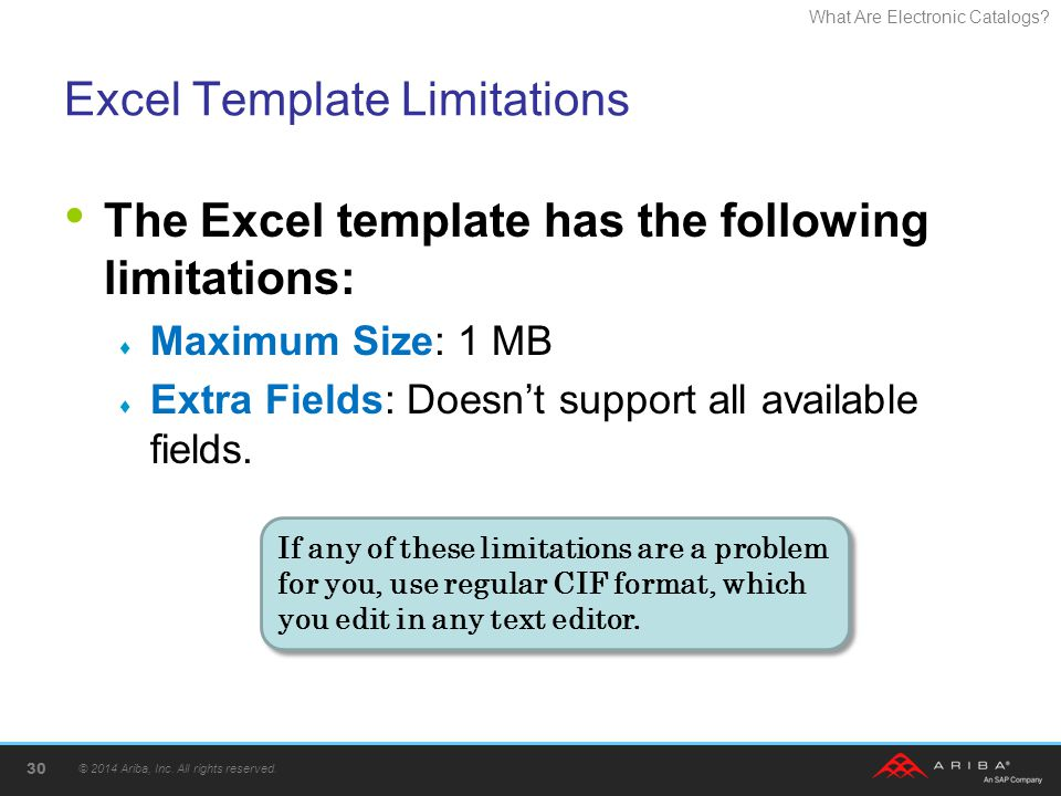 Excel Template Limitations