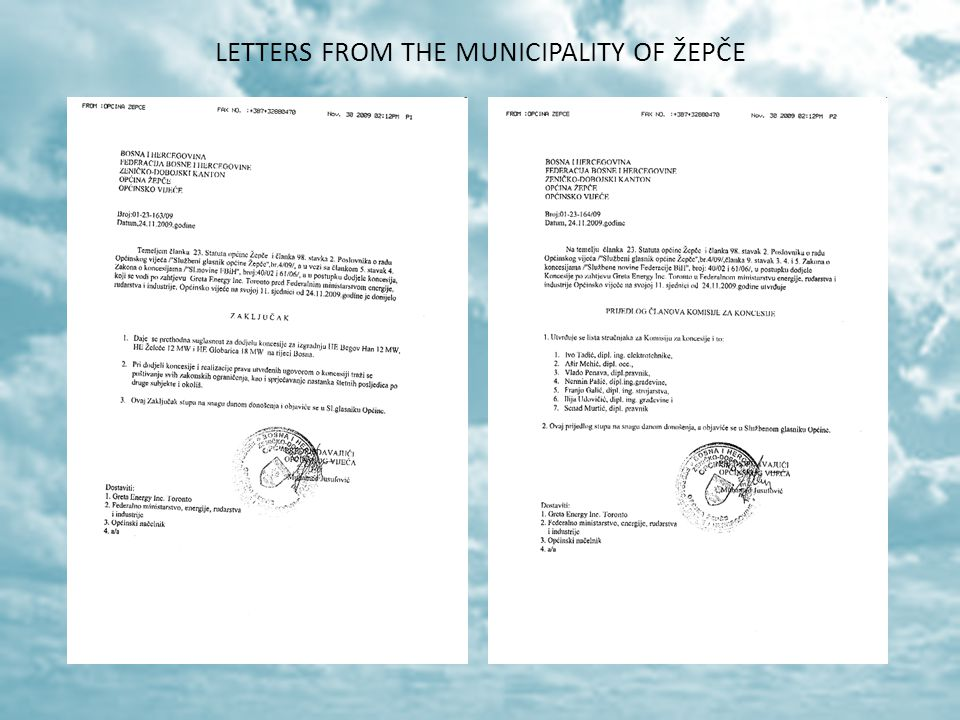 LETTERS FROM THE MUNICIPALITY OF ŽEPČE