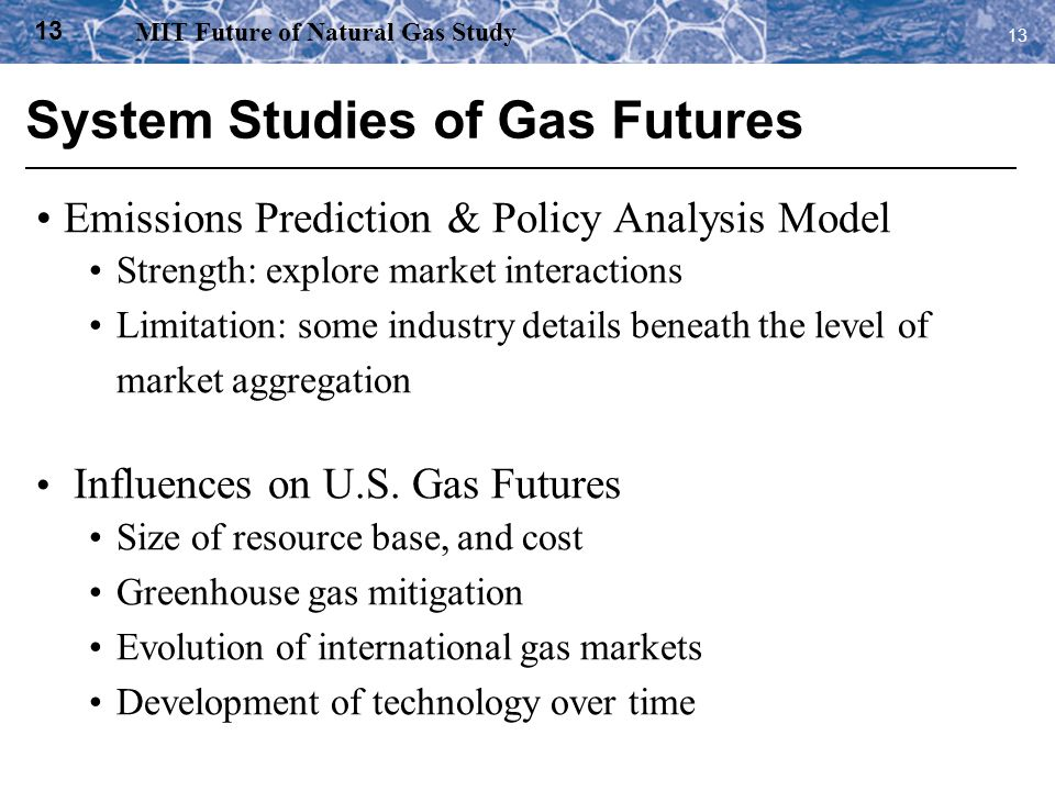System Studies of Gas Futures