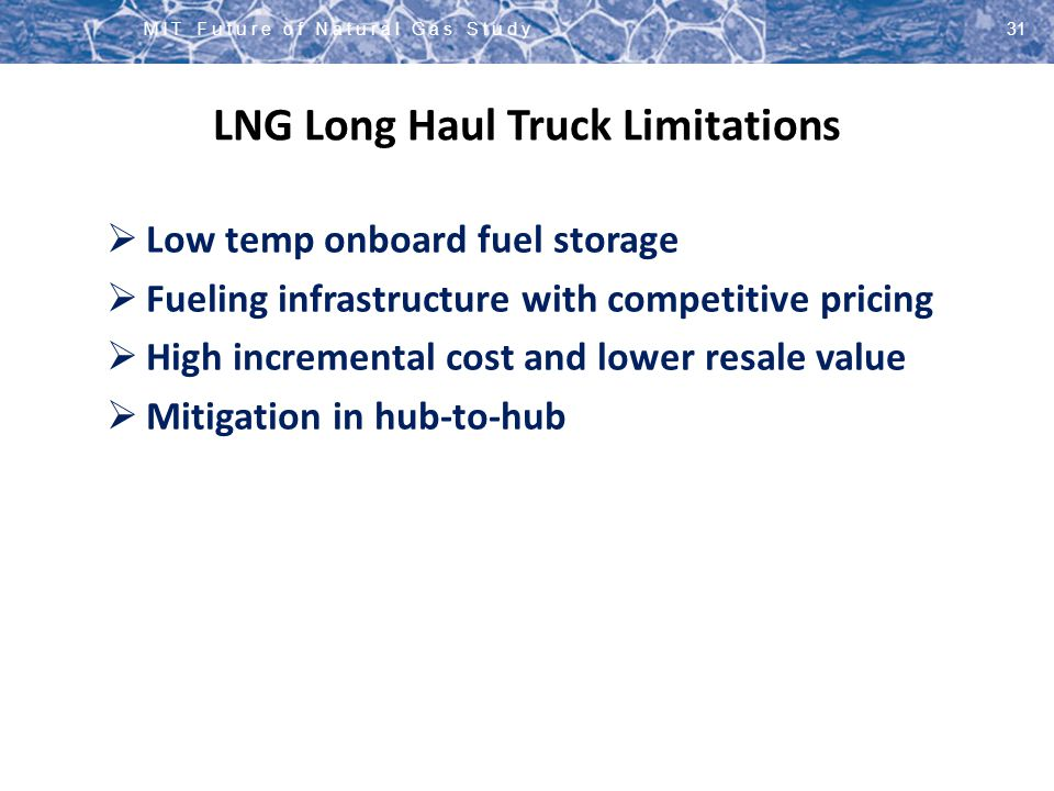 LNG Long Haul Truck Limitations