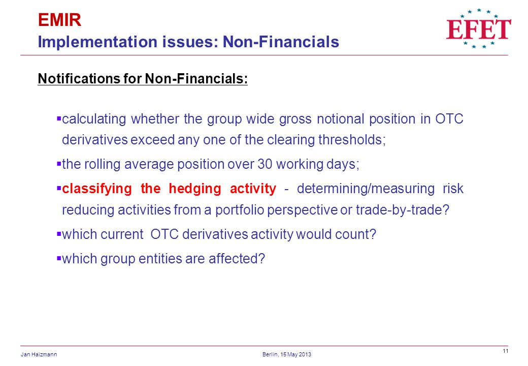 EMIR Implementation issues: Non-Financials
