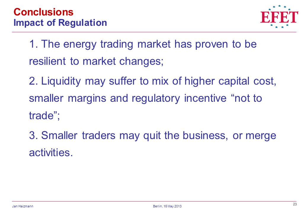 Conclusions Impact of Regulation