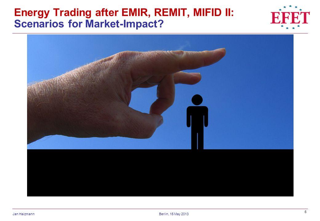 Energy Trading after EMIR, REMIT, MIFID II: Scenarios for Market-Impact