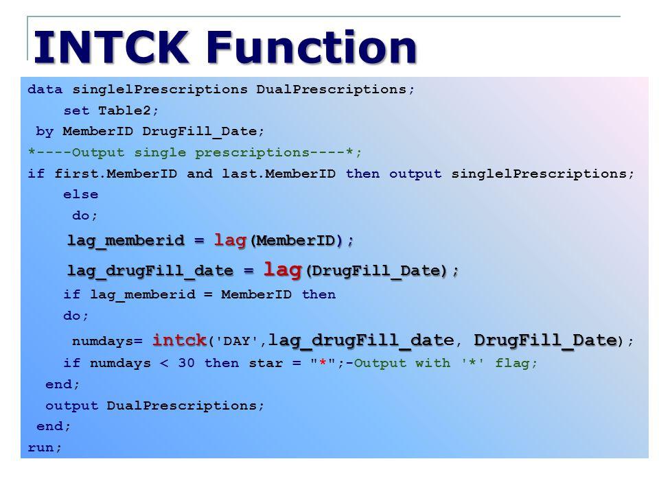 INTCK Function lag_memberid = lag(MemberID);