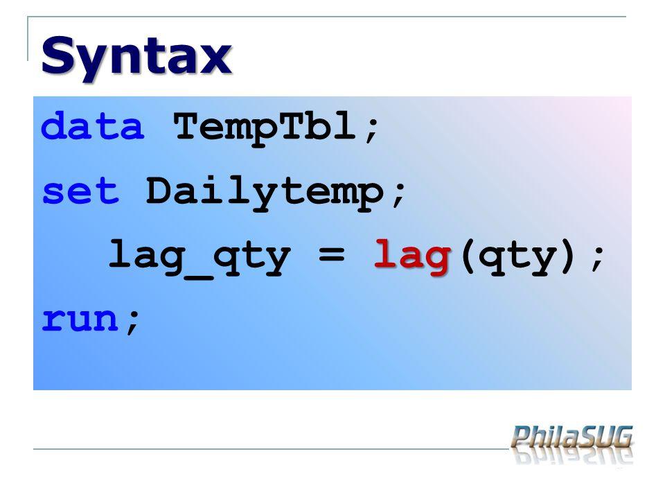 Syntax data TempTbl; set Dailytemp; lag_qty = lag(qty); run;