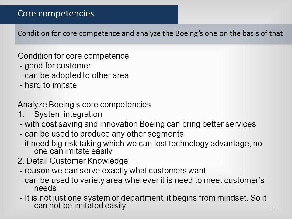Core competencies Condition for core competence and analyze the Boeing's one on the basis of that. Condition for core competence.