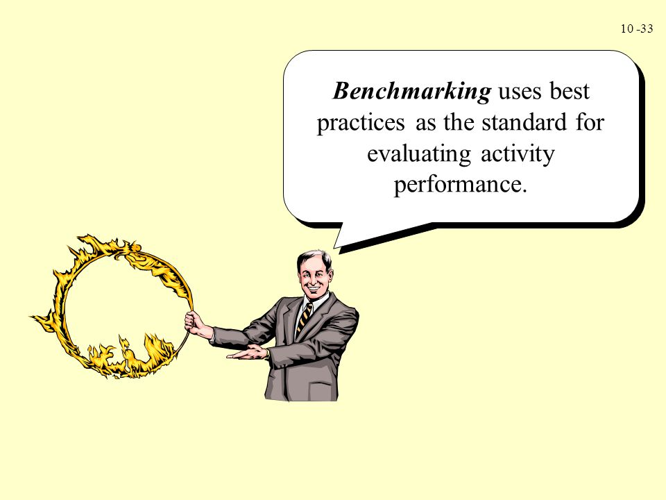 Benchmarking uses best practices as the standard for evaluating activity performance.