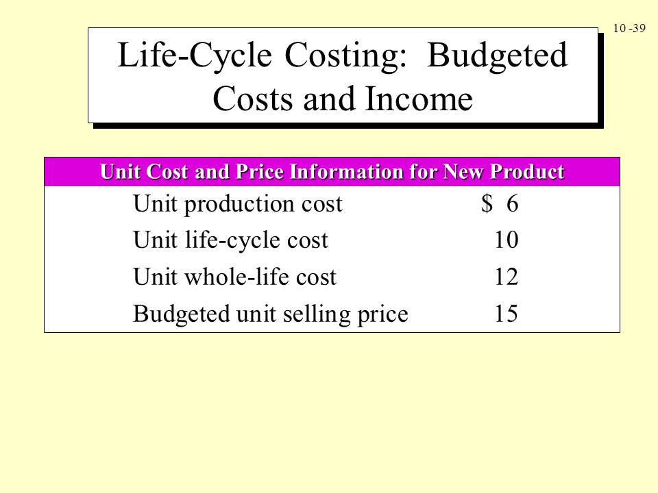 Unit Cost and Price Information for New Product