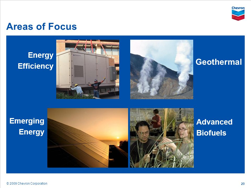 Areas of Focus Geothermal Energy Efficiency Emerging Energy