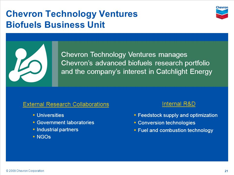 Chevron Technology Ventures Biofuels Business Unit
