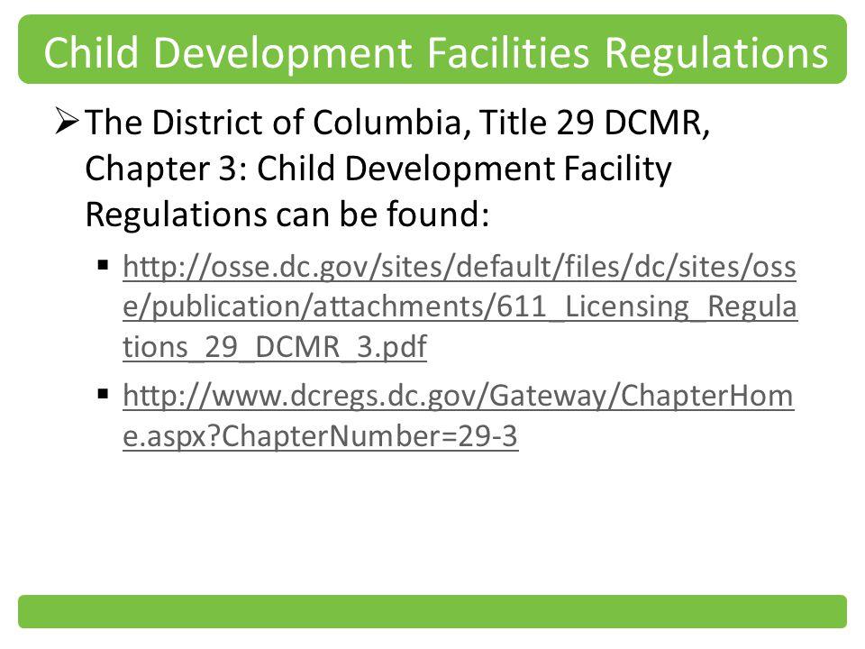 Child Development Facilities Regulations