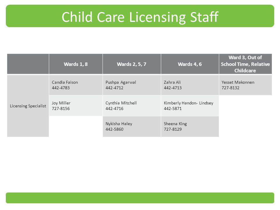 Child Care Licensing Staff
