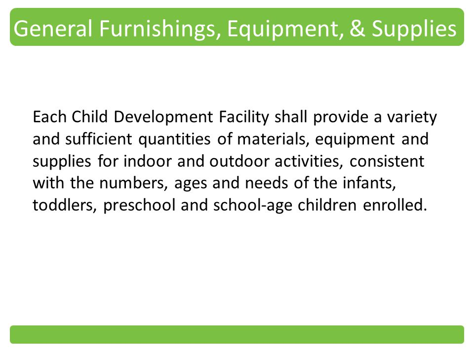 General Furnishings, Equipment, & Supplies