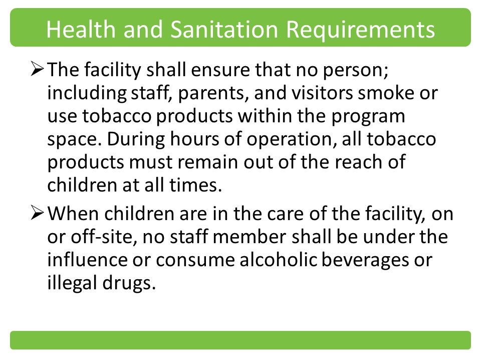 Health and Sanitation Requirements