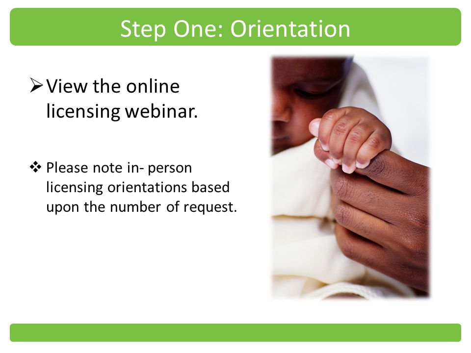 Step One: Orientation View the online licensing webinar.