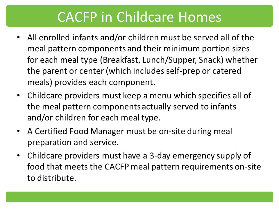 CACFP in Childcare Homes