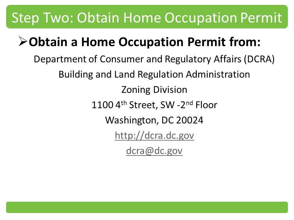 Step Two: Obtain Home Occupation Permit