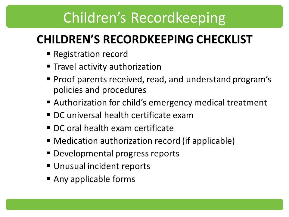 Children's Recordkeeping