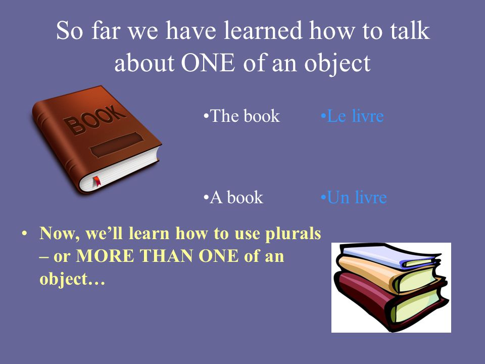 So far we have learned how to talk about ONE of an object