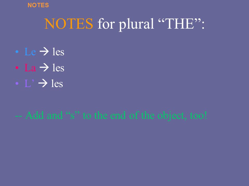 NOTES for plural THE :