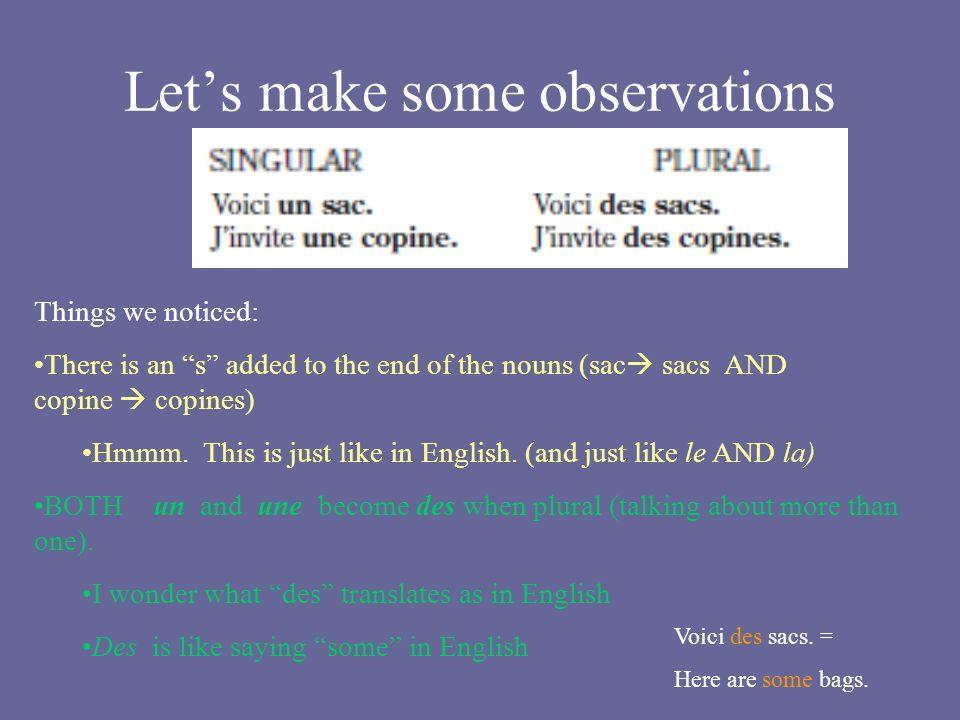 Let's make some observations