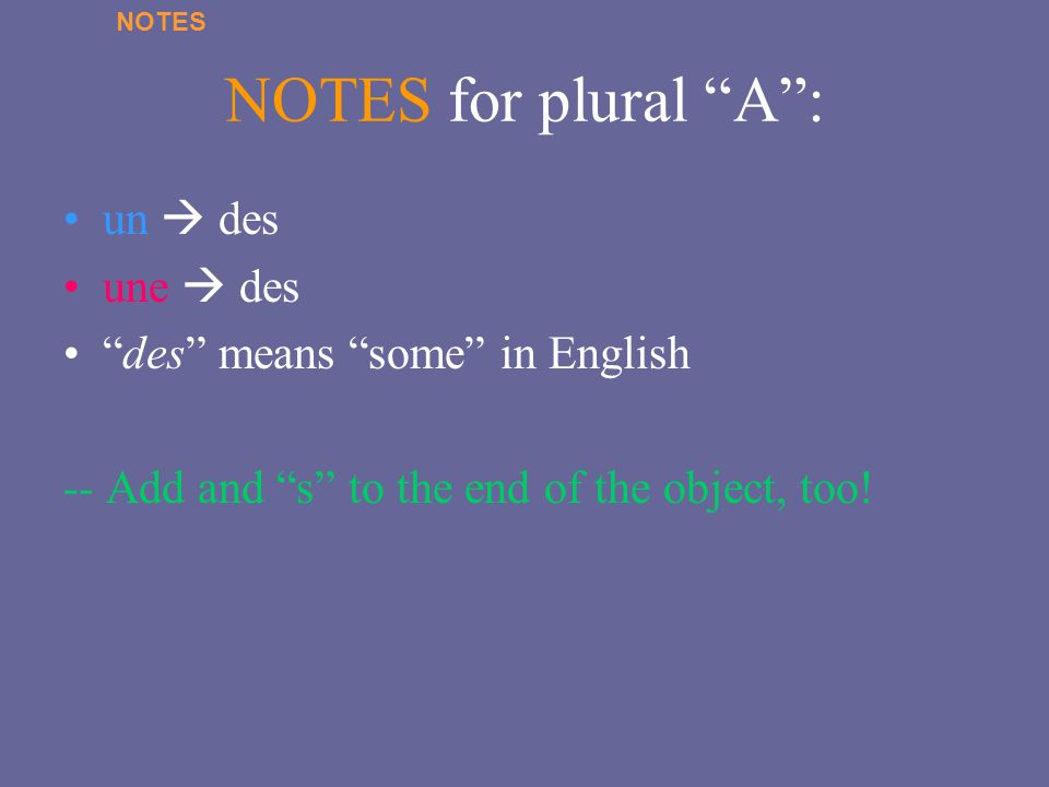 NOTES for plural A : un  des une  des des means some in English