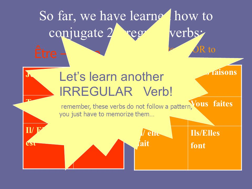 So far, we have learned how to conjugate 2 irregular verbs: