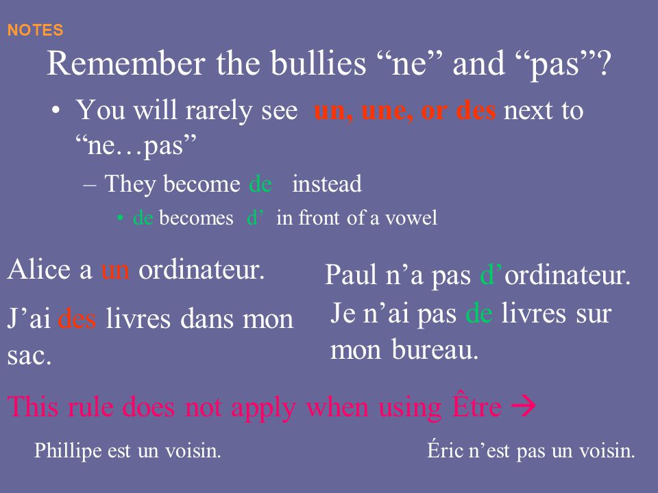 Remember the bullies ne and pas