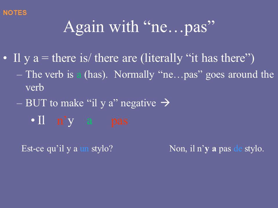 Again with ne…pas Il y a n' pas