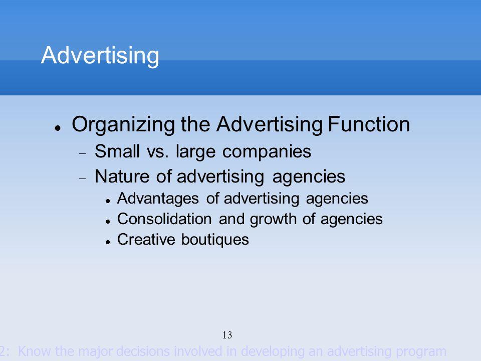 Advertising Organizing the Advertising Function