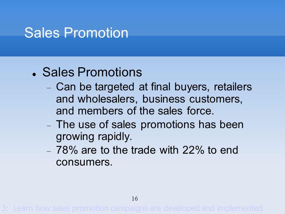 Sales Promotion Sales Promotions