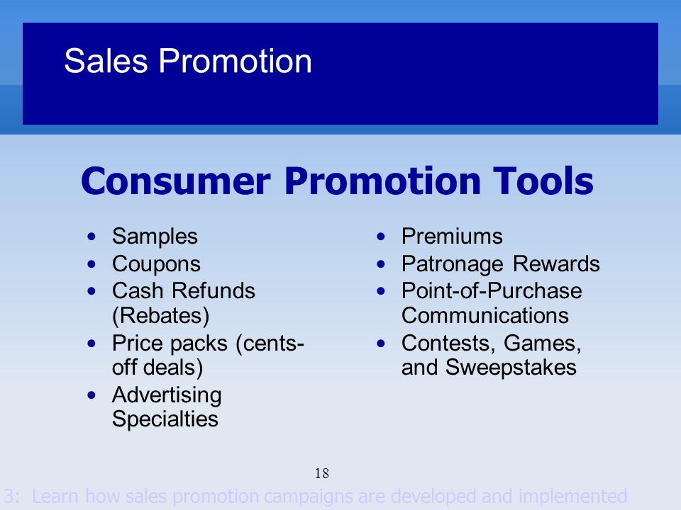 Consumer Promotion Tools