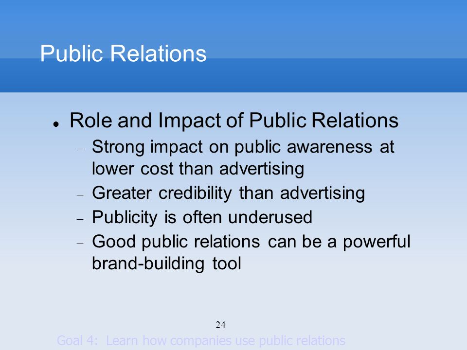 Public Relations Role and Impact of Public Relations