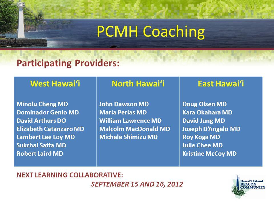 PCMH Coaching Participating Providers: West Hawai'i North Hawai'i