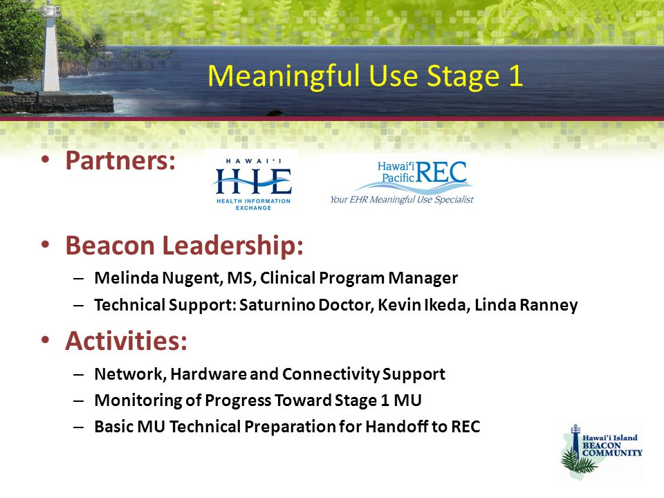 Meaningful Use Stage 1 Partners: Beacon Leadership: Activities: