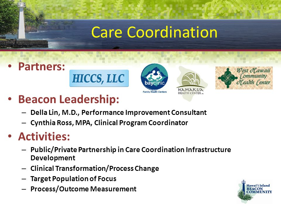 Care Coordination Partners: Beacon Leadership: Activities: